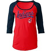 5th & Ocean Women's Cleveland Indians Red Three-Quarter Sleeve Shirt