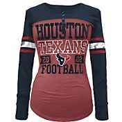 5th & Ocean Women's Houston Texans Tri-Blend Henley Long Sleeve Shirt