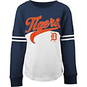 5th & Ocean Youth Girls' Detroit Tigers Pink/White Three-Quarter Sleeve Shirt
