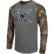 Colosseum Athletics Men's Penn State Nittany Lions Grey/Camo Break Action Long Sleeve Shirt