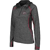 Colosseum Women's Georgia Bulldogs Grey Downhill Quarter-Zip Hooded Wind Shirt