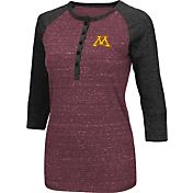 Colosseum Women's Minnesota Golden Gophers Maroon Three-Quarter Sleeve Henley Shirt
