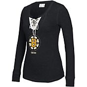 CCM Women's Boston Bruins Black Lace Up Henley
