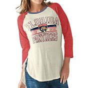 G-III for Her Women's Florida Panthers Hang Time Three Quarter Sleeve Vintage White T-Shirt