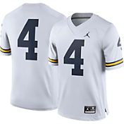 Jordan Men's Michigan Wolverines White #4 Limited Football Jersey