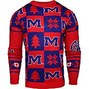 Klew Men's Ole Miss Rebels Red Ugly Sweater