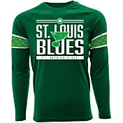 Levelwear Men's St. Patty's Day St. Louis Blues Green Long Sleeve T-Shirt