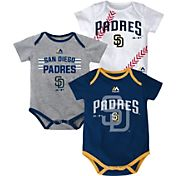 Majestic Infant San Diego Padres Three-Piece Onesie Set