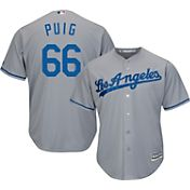Majestic Men's Replica Los Angeles Dodgers Yasiel Puig #66 Cool Base Road Grey Jersey
