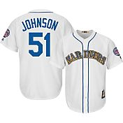 Majestic Men's Replica Seattle Mariners Randy Johnson Cool Base White Cooperstown Jersey w/ 2015 Hall-of-Fame Patch