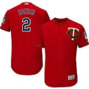 Majestic Men's Authentic Minnesota Twins Brian Dozier #2 Alternate Red Flex Base On-Field Jersey
