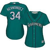 Majestic Women's Replica Seattle Mariners Felix Hernandez #34 Cool Base Alternate Teal Jersey