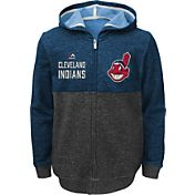 Majestic Youth Cleveland Indians Navy Full-Zip Hooded Fleece