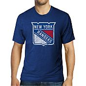 Majestic Threads Men's New York Rangers Royal Crest T-Shirt