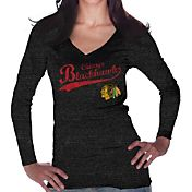 Majestic Threads Women's Chicago Blackhawks Tri-Blend Long Sleeve Black T-Shirt