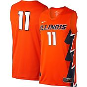 Nike Men's Illinois Fighting Illini #11 Orange ELITE Replica Basketball Jersey