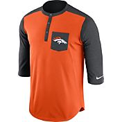 Nike Men's Denver Broncos Dri-FIT Touch Henley Orange Three-Quarter Sleeve Shirt