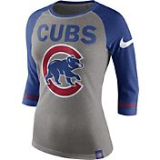 Nike Women's Chicago Cubs Grey/Royal Raglan Three-Quarter Sleeve Shirt