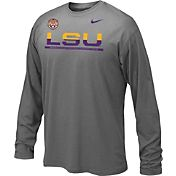 Nike Youth LSU Tigers Anthracite Staff Sideline Long Sleeve Shirt