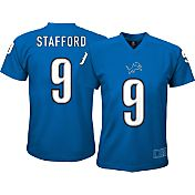 NFL Team Apparel Youth Detroit Lions Matthew Stafford #9 Blue Performance T-Shirt