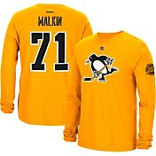 Reebok Men's 2017 NHL Stadium Series Pittsburgh Penguins Evgeni Malkin #71 Long Sleeve Player Gold T-Shirt