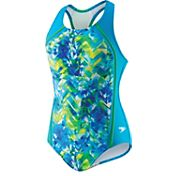 Speedo Girls' Tie Dye Splash Sport Splice Racerback Swimsuit