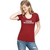 '47 Women's Chicago Blackhawks Red Scoop Neck T-Shirt