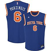 adidas Men's New York Knicks Kristaps Porzingis #6 Road Royal Replica Jersey