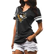 Majestic Women's Pittsburgh Penguins Grey Notch Neck T-Shirt
