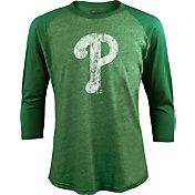 Majestic Threads Men's Philadelphia Phillies St. Patrick's Day Green Raglan Three-Quarter Shirt